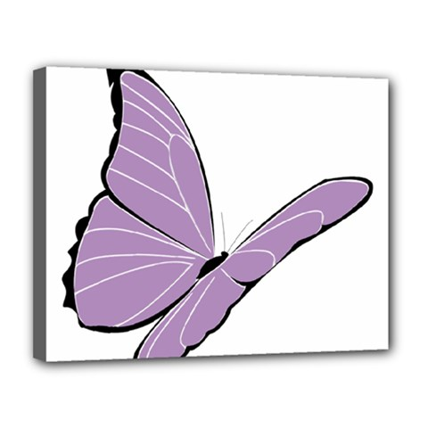 Purple Awareness Butterfly 2 Canvas 14  X 11  (framed) by FunWithFibro