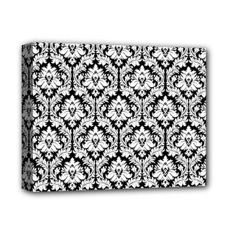 White On Black Damask Deluxe Canvas 14  x 11  (Framed) by Zandiepants