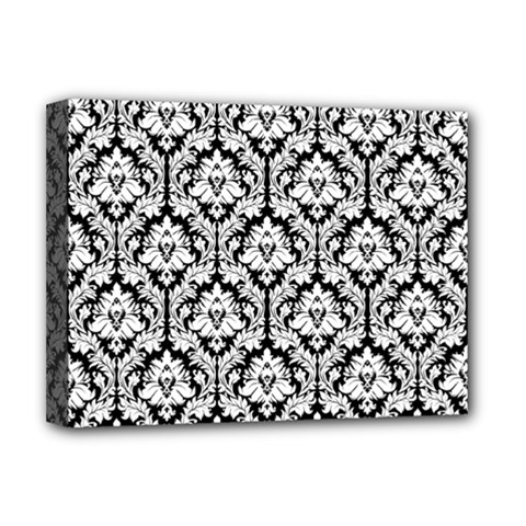 White On Black Damask Deluxe Canvas 16  X 12  (framed)  by Zandiepants