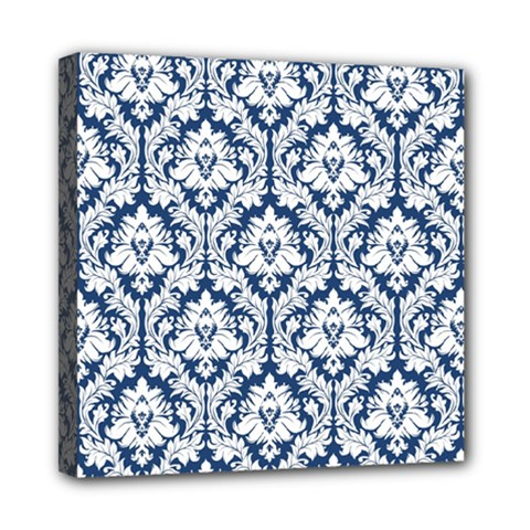 White On Blue Damask Mini Canvas 8  x 8  (Framed) by Zandiepants
