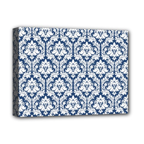 White On Blue Damask Deluxe Canvas 16  X 12  (framed)  by Zandiepants