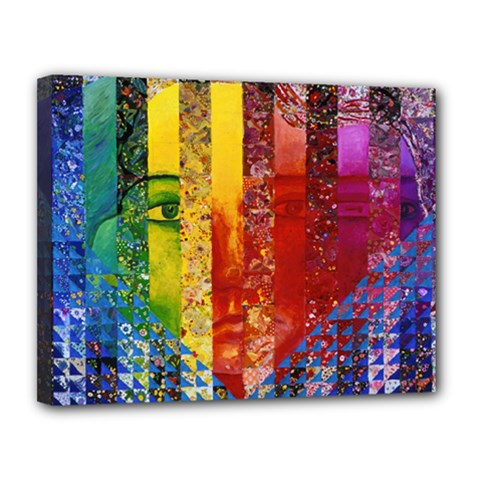 Conundrum I, Abstract Rainbow Woman Goddess  Canvas 14  X 11  (framed) by DianeClancy