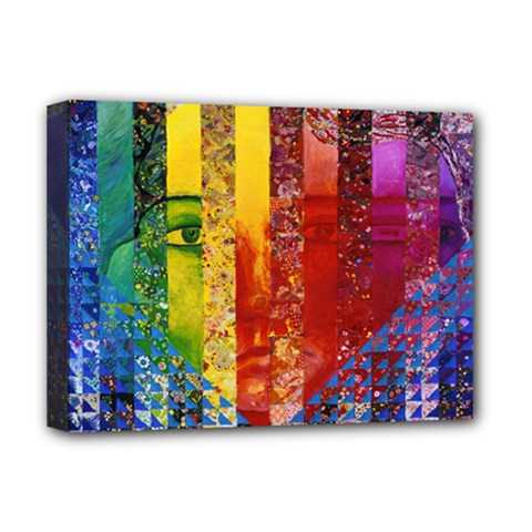 Conundrum I, Abstract Rainbow Woman Goddess  Deluxe Canvas 16  X 12  (framed)  by DianeClancy