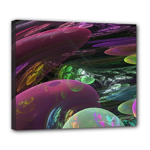 Creation Of The Rainbow Galaxy, Abstract Deluxe Canvas 24  X 20  (framed) by DianeClancy