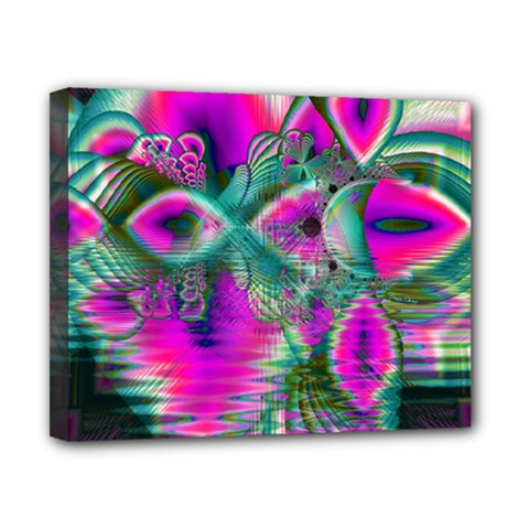 Crystal Flower Garden, Abstract Teal Violet Canvas 10  X 8  (framed) by DianeClancy