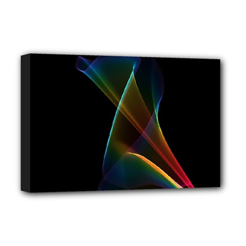 Abstract Rainbow Lily, Colorful Mystical Flower  Deluxe Canvas 18  X 12  (framed) by DianeClancy