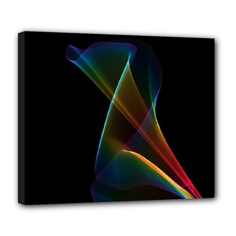 Abstract Rainbow Lily, Colorful Mystical Flower  Deluxe Canvas 24  X 20  (framed) by DianeClancy