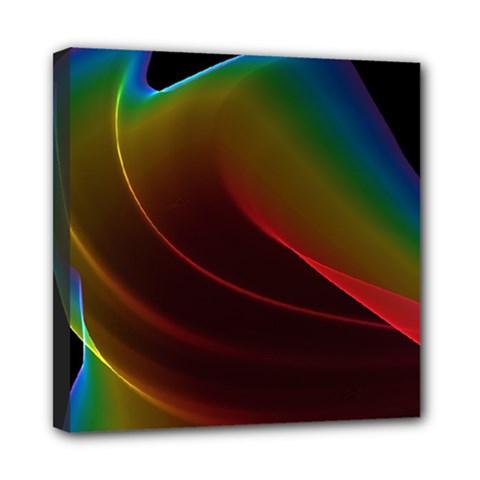 Liquid Rainbow, Abstract Wave Of Cosmic Energy  Mini Canvas 8  X 8  (framed) by DianeClancy