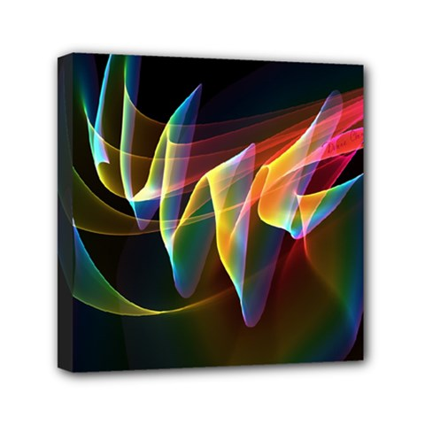 Northern Lights, Abstract Rainbow Aurora Mini Canvas 6  X 6  (framed) by DianeClancy