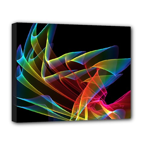 Dancing Northern Lights, Abstract Summer Sky  Deluxe Canvas 20  X 16  (framed) by DianeClancy