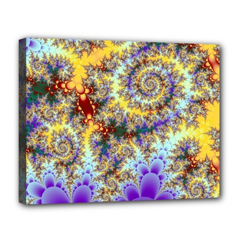 Desert Winds, Abstract Gold Purple Cactus  Canvas 14  X 11  (framed) by DianeClancy