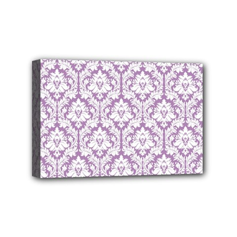 White On Lilac Damask Mini Canvas 6  x 4  (Framed) by Zandiepants