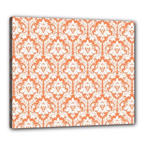 White On Orange Damask Canvas 24  X 20  (framed) by Zandiepants