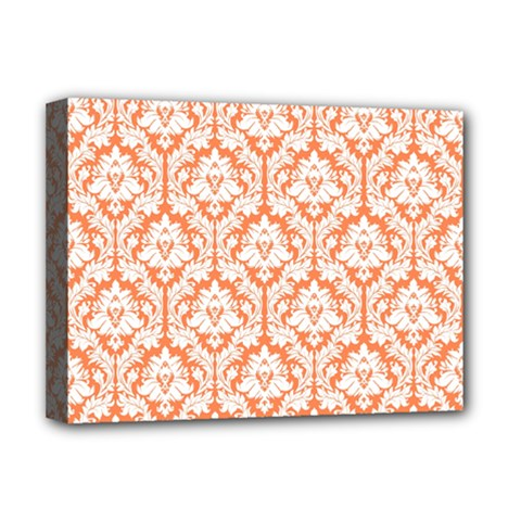White On Orange Damask Deluxe Canvas 16  X 12  (framed)  by Zandiepants
