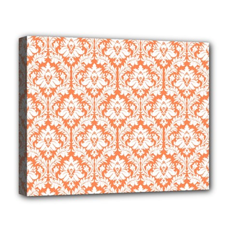 White On Orange Damask Deluxe Canvas 20  X 16  (framed) by Zandiepants