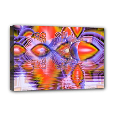 Crystal Star Dance, Abstract Purple Orange Deluxe Canvas 18  X 12  (framed) by DianeClancy