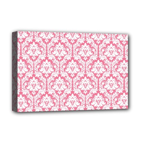 White On Soft Pink Damask Deluxe Canvas 18  x 12  (Framed) by Zandiepants