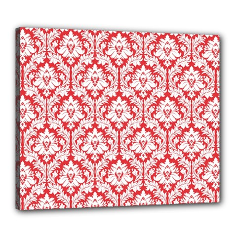 White On Red Damask Canvas 24  x 20  (Framed) by Zandiepants