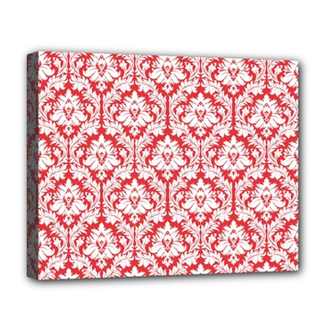 White On Red Damask Deluxe Canvas 20  x 16  (Framed) by Zandiepants