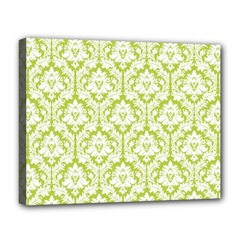 White On Spring Green Damask Canvas 14  X 11  (framed) by Zandiepants