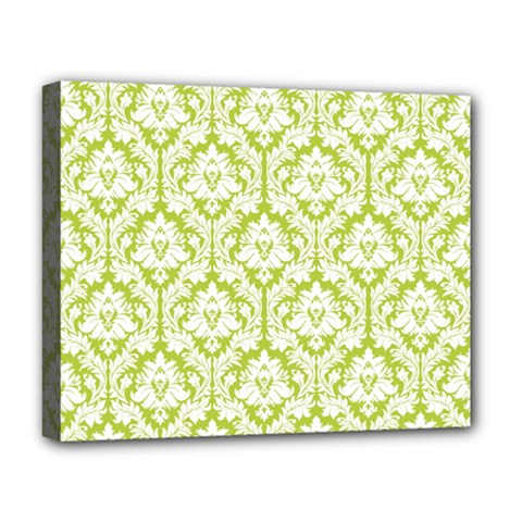 White On Spring Green Damask Deluxe Canvas 20  x 16  (Framed) by Zandiepants