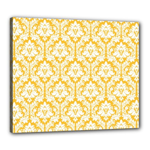 White On Sunny Yellow Damask Canvas 24  X 20  (framed) by Zandiepants