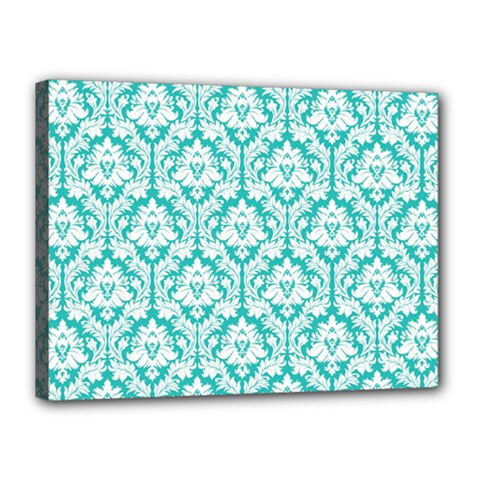 White On Turquoise Damask Canvas 16  X 12  (framed) by Zandiepants