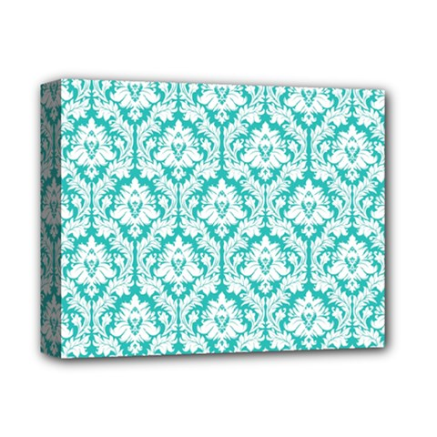 White On Turquoise Damask Deluxe Canvas 14  X 11  (framed) by Zandiepants