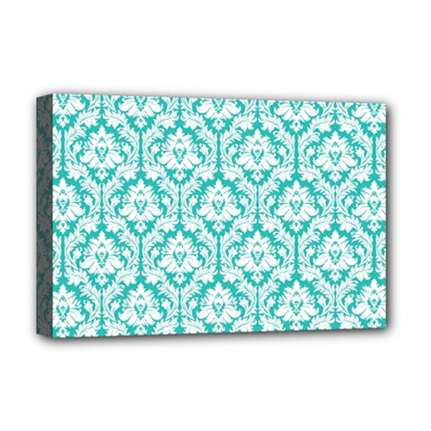 White On Turquoise Damask Deluxe Canvas 18  X 12  (framed) by Zandiepants