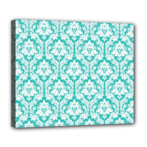White On Turquoise Damask Deluxe Canvas 24  X 20  (framed) by Zandiepants