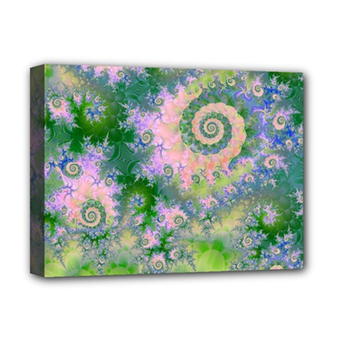 Rose Apple Green Dreams, Abstract Water Garden Deluxe Canvas 16  X 12  (framed)  by DianeClancy