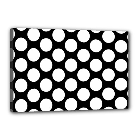 Black And White Polkadot Canvas 18  x 12  (Framed) by Zandiepants