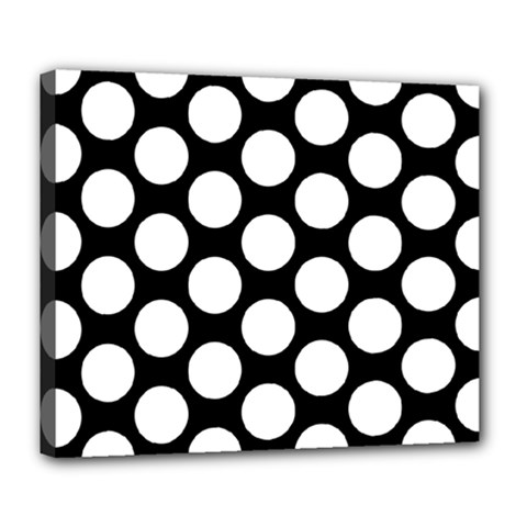 Black And White Polkadot Deluxe Canvas 24  x 20  (Framed) by Zandiepants