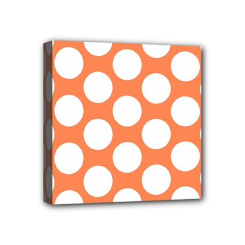 Orange Polkadot Mini Canvas 4  x 4  (Framed) by Zandiepants
