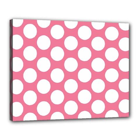 Pink Polkadot Canvas 20  x 16  (Framed) by Zandiepants