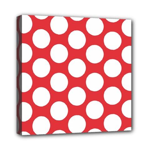 Red Polkadot Mini Canvas 8  X 8  (framed) by Zandiepants