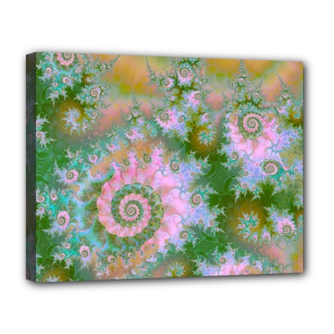 Rose Forest Green, Abstract Swirl Dance Canvas 14  X 11  (framed) by DianeClancy