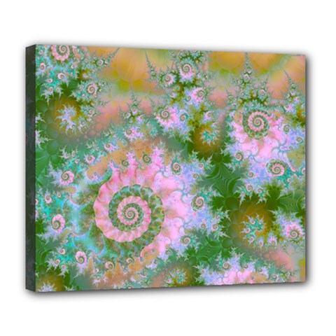 Rose Forest Green, Abstract Swirl Dance Deluxe Canvas 24  X 20  (framed) by DianeClancy