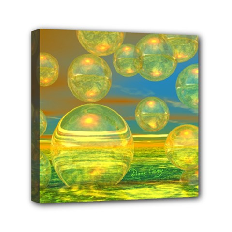Golden Days, Abstract Yellow Azure Tranquility Mini Canvas 6  X 6  (framed) by DianeClancy