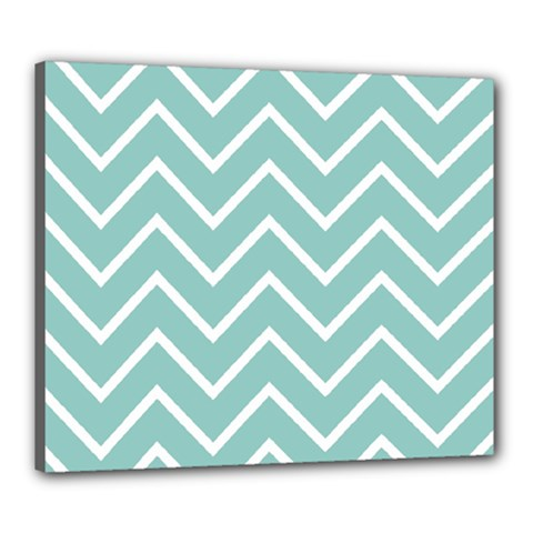 Blue And White Chevron Canvas 24  X 20  (framed) by zenandchic