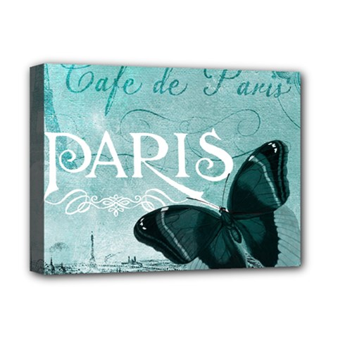 Paris Butterfly Deluxe Canvas 16  x 12  (Framed)  by zenandchic