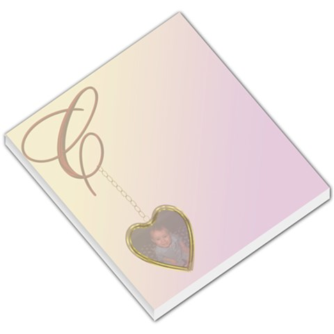 Golden Heart Locket Small Memo Pad By Chere s Creations   Small Memo Pads   Fjfpa64jycle   Www Artscow Com