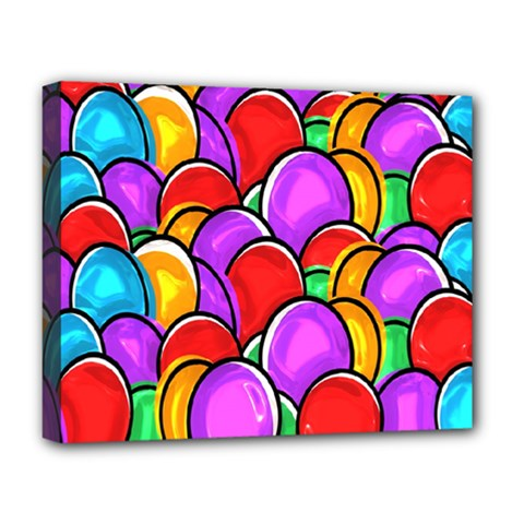 Colored Easter Eggs Deluxe Canvas 20  X 16  (framed) by StuffOrSomething