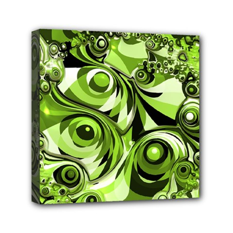 Retro Green Abstract Mini Canvas 6  X 6  (framed) by StuffOrSomething