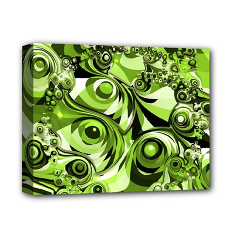 Retro Green Abstract Deluxe Canvas 14  X 11  (framed) by StuffOrSomething