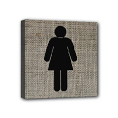 woman restroom - Mini Canvas 4  x 4  (Stretched)