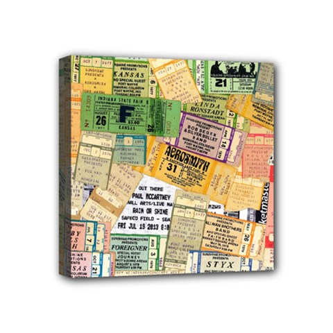 Retro Concert Tickets Mini Canvas 4  x 4  (Framed) by StuffOrSomething