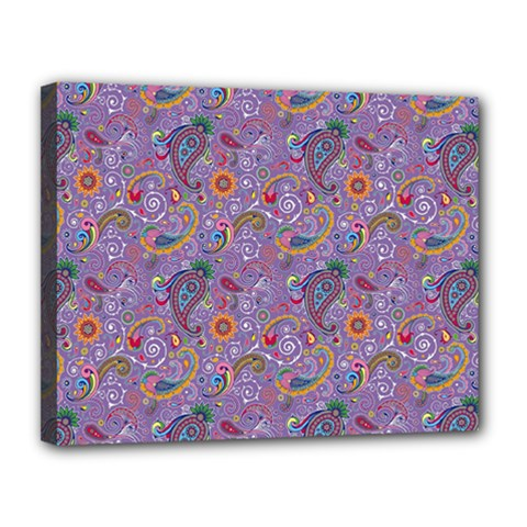 Purple Paisley Canvas 14  X 11  (framed) by StuffOrSomething
