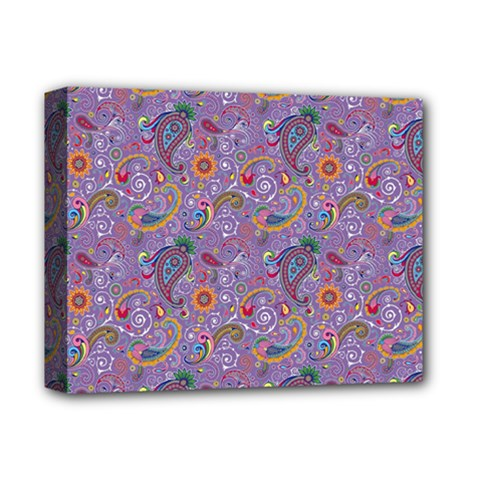 Purple Paisley Deluxe Canvas 14  X 11  (framed) by StuffOrSomething