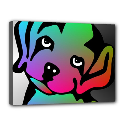 Dog Canvas 16  X 12  (framed) by Siebenhuehner